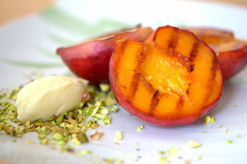 Grilled Peaches with Mascarpone and Pistachios for Game of Thrones