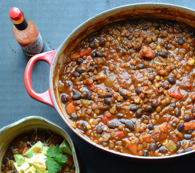 Black Bean and Lentil Chili from Taste Love and Nourish