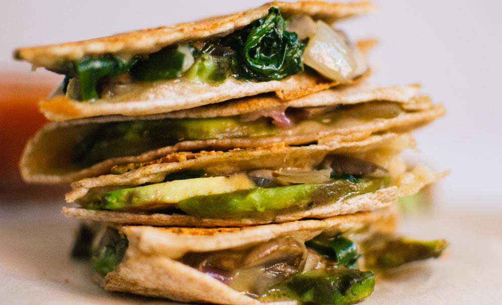 Crispy Mushroom, Spinach and Avocado Quesadillas | Recipes | NoshOn.It