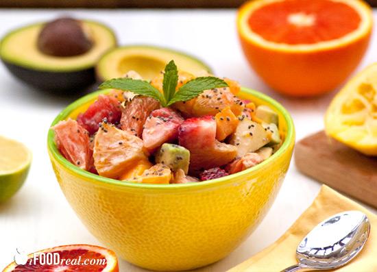 Avocado Fruit Salad with Chia Seed Yogurt