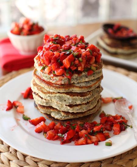 Chia Seed Flapjacks with Strawberry Salsa