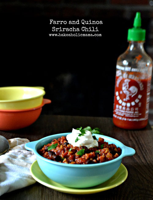 Farro and Quinoa Sriracha Chili from Bakeaholic Mama