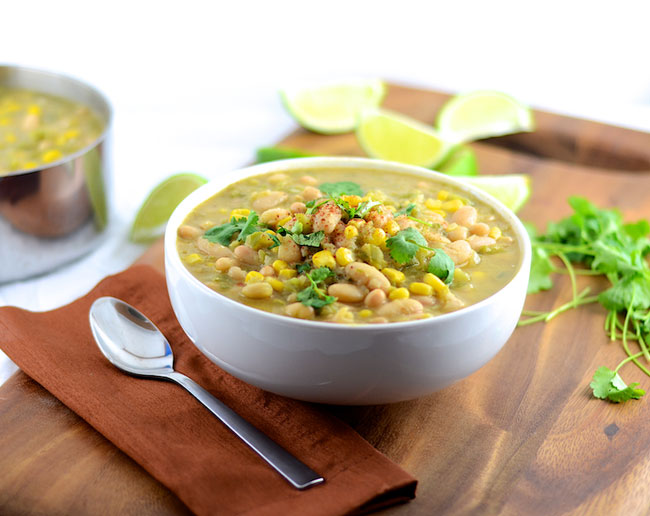 White Bean Chili (Vegan, Gluten Free) from Girl Makes Food