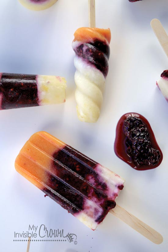 Blackberry Peach Colada Popsicle