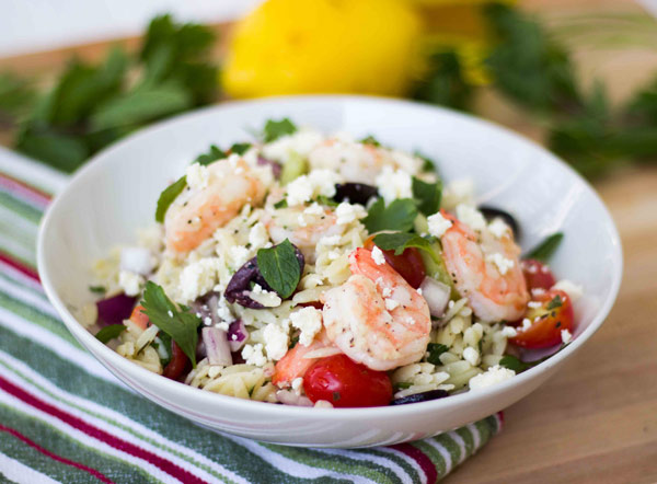 Greek Orzo Salad with Roasted Shrimp (Guest Post for Rachel Cooks)
