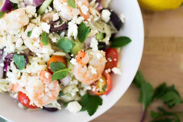 Greek Orzo Salad with Roasted Shrimp | Blog | NoshOnIt