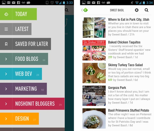 Feedly mobile device view
