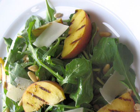 Arugula Salad with Parmesan, Pine Nuts and Grilled Peaches