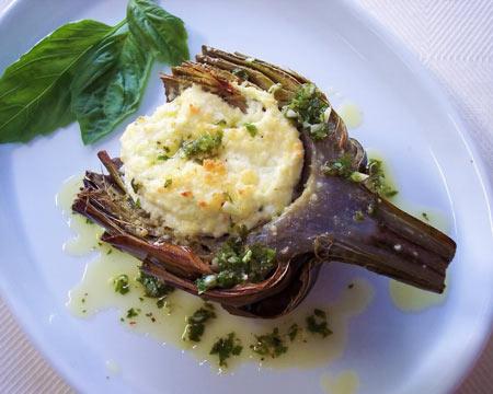 Ricotta Stuffed Artichokes with Lemon Herb Oil from Proud Italian Cook