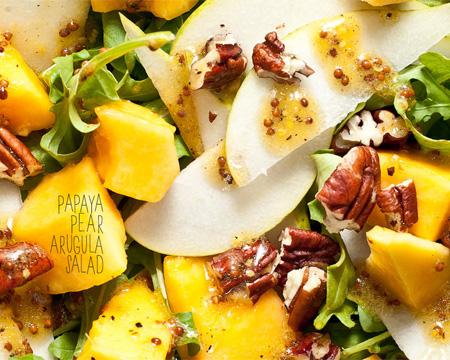 Papaya Pear Arugula Salad