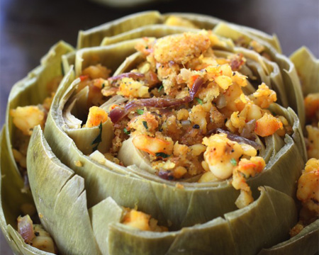 Shrimp Stuffed Artichokes with Indian Spices