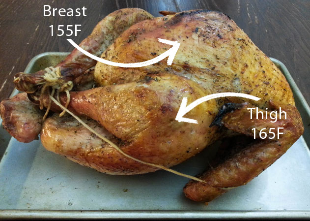 Cooked Tied Turkey with Temperatures